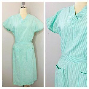Vintage Green Striped Lounge Day Chore Day Dress